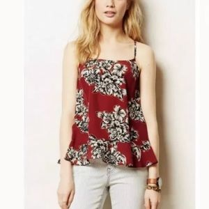 Anthropologie Maeve Zabell Floral Ruffle Tank
